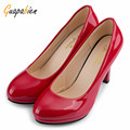 Guapabien Primavera Casual Mulheres Bombas Escritório Senhoras Elegantes Sólidos Dedo do Pé Redondo Boca Rasa Grossos Sapatos de Salto Alto de Couro de Patente