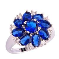 Hot sale! Wholesale Cluster Round & Oval Cut Sapphire Quartz White Sapphire 925 Silver Ring Size 6 7 8 9 10 11 12 Free Ship