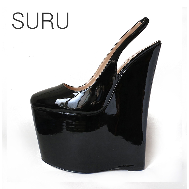 SURU Black Patent Sling Wedges Pumps Women Sexy 23cm High Heeled Wedding Party Shoes With Big USA Size 11 12 13 14