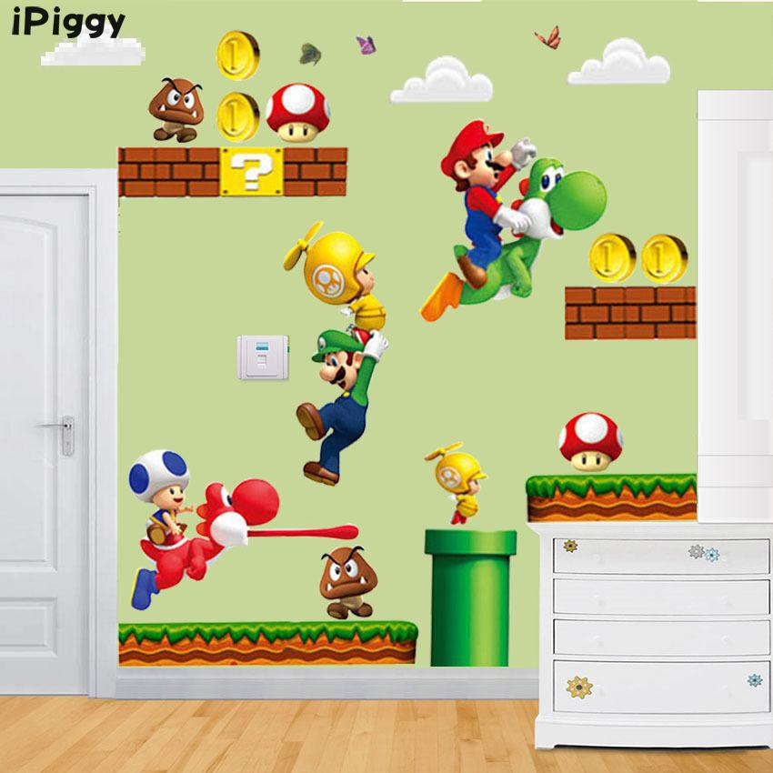 Ipiggy Removable Super Mario Bros Baby Bedroom Kitchen Home Decor Wall Sticker