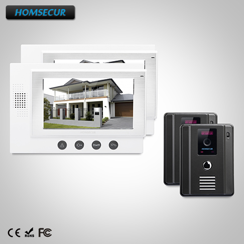 HOMSECUR 7 Wired Video&Audio Smart Doorbell+Dual-way Intercom for Home Security: TC011-B Camera (Black)+TM701-W Monitor (White)