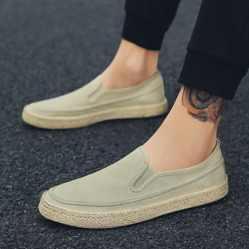 Men Canvas Shoes Male Slip On Summer Autumn Footwear Comfortable Student Solid Color Casual Street Flat Handmade Shoes Men Shoes