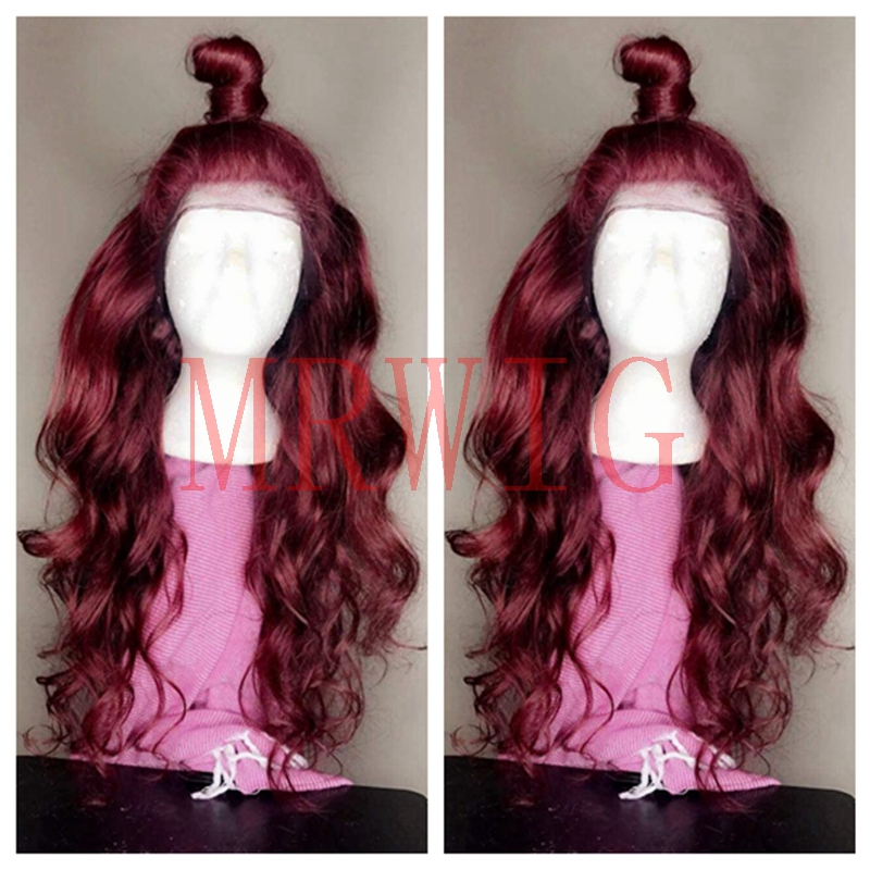 MRWIG long wavy free part #2030 dark burgundy front lace wig synthetic heat resistant fiber cosplay baby hair for lady woman