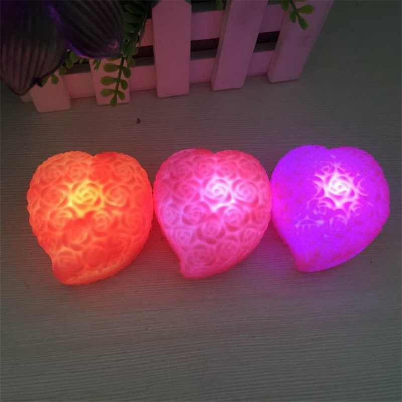 1Pcs Heart-shaped rose little Night Light Small colorful props romantic Valentine's Day roses jewelry lovers Color Changing LED