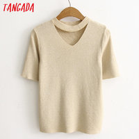 Tangada Fashion Women Elegant Knitted Sweater Hollow Out Collar Short Sleeve Pullovers Casual Stretch Fit Brand Tops AC3