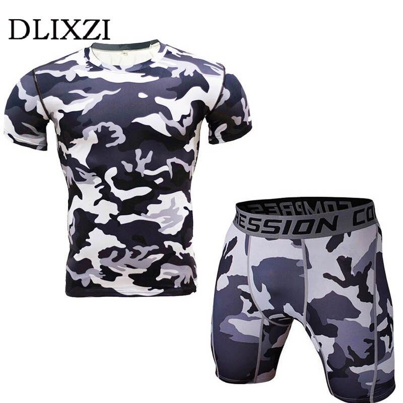 font b men b font camo compression font b shirt b font set fitness workout