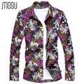 MOGU 2017 Fashion Shirts Flower Print Shirt Men Cotton Floral Print Men's Large Sizes Camisa Masculina  Plus Size M-7XL
