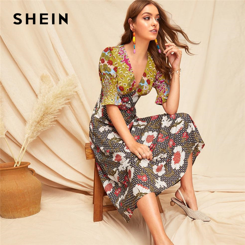 SHEIN Boho Multicolor Shirred Cuff Mixed Print Fit and Flare  Summer Long Dress Women Deep V Neck Puff Sleeve A Line Sexy  DressesDresses