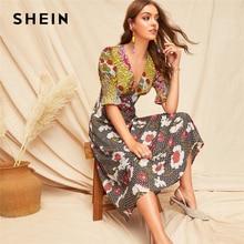 SHEIN Boho Renkli Büzgülü Manşet Karışık Baskı Fit ve Flare Yaz uzun elbise Kadınlar Derin V Boyun Puf Kollu Bir Çizgi seksi Elbiseler