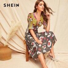 Shein boho 여러 가지 빛깔의 shirred 커프 혼합 인쇄 맞추기 플레어 여름 긴 드레스 여성 딥 브이 넥 퍼프 슬리브 라인 섹시한 드레스