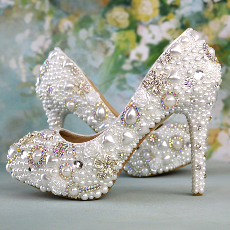 Handmade Married White High-heeled Platforms Spring Party Prom Pumps White Pearl Shoes Rhinestone Lady Wedding Shoes  Plus Size цена 2017