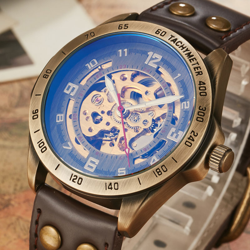 Top Brand Mens Self-Wind Mechanical Watches For Males Retro Automatic Skeleton Steampunk Leather Mechanical Watches Luxury Gifts retro bronze bezel skeleton steampunk automatic watches mens sports clock luxury top brand vintage leather mechanical wristwatch