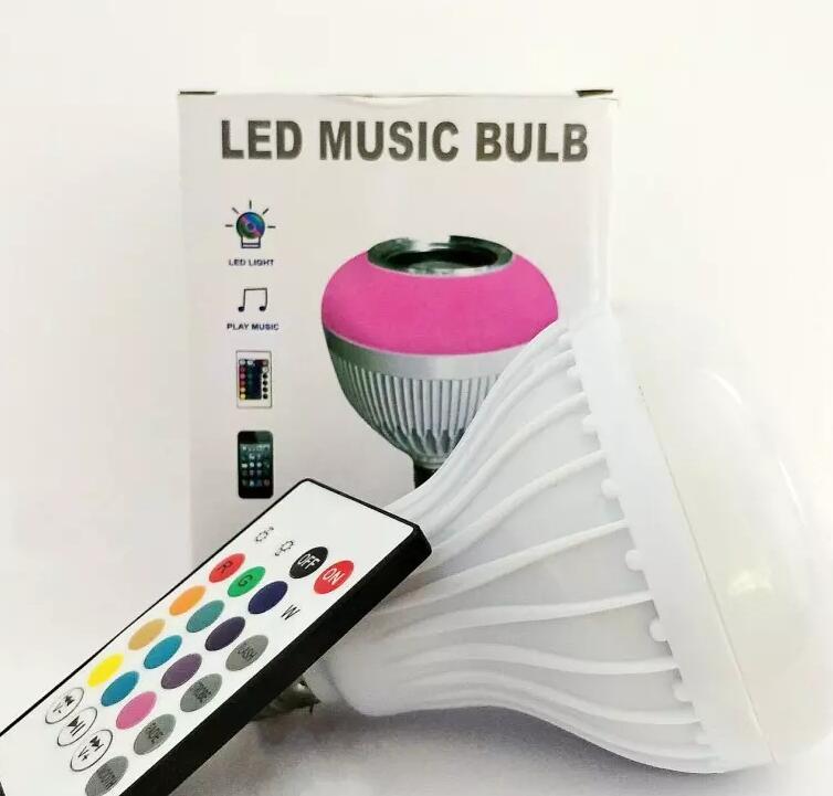 Altavoz Bluetooth inalámbrico + 12 W RGB bombilla E27 llevó la lámpara 100-240 V 110 V 220 V inteligente luz Led Audio reproductor de música con Control remoto