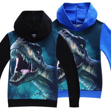 купить Summer Autumn Boys Girls Dinosaur Pattern Long Sleeve T-Shirts Kids boys t shirts 3D Printed Hoodies Big Boy Sweatshirt Clothes дешево