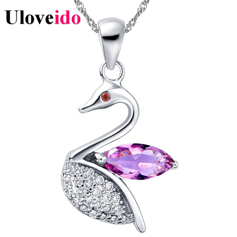 Collares Animals Pendant Necklace Purple Anime Necklaces & Pendants Micro Pave New Year Gifts for Women Jewerly Uloveido N794