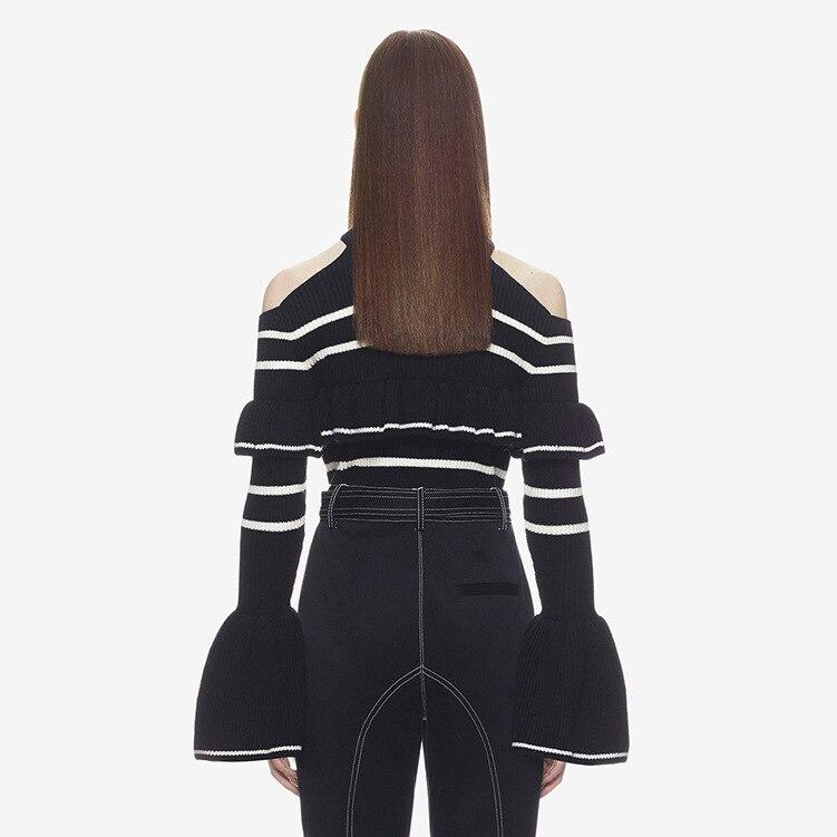 Autoportrait élégant Slim tricoté rayé chandail Blouse femmes 2018 automne hiver chaud hors épaule pull femmes - 3