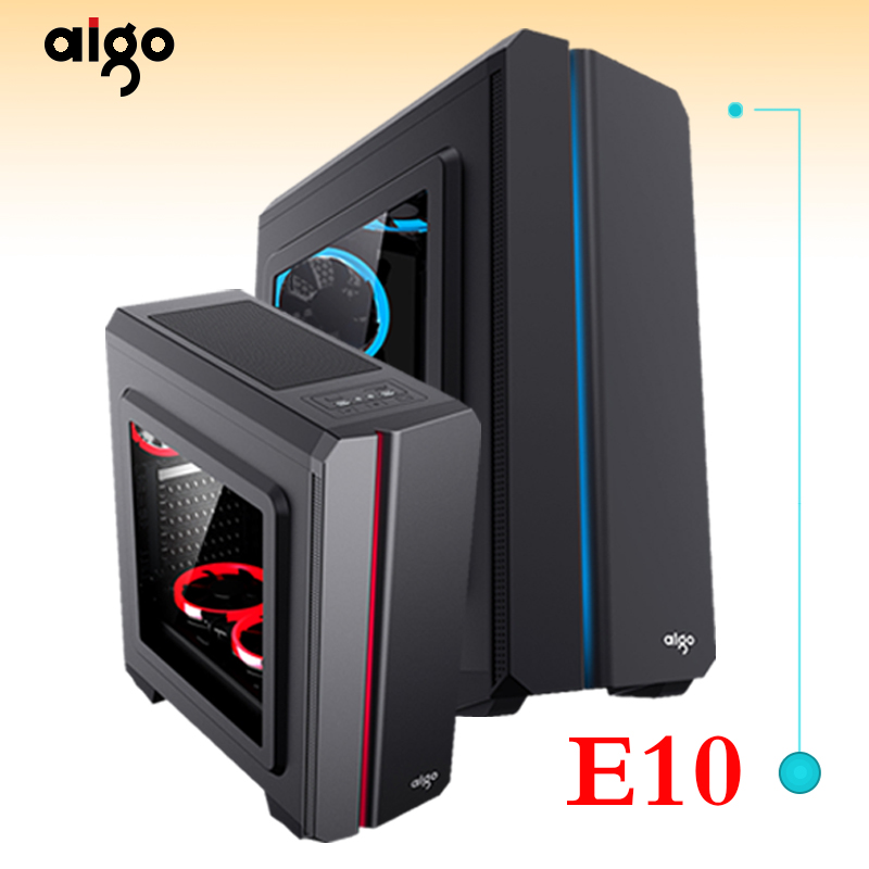 Aigo Aurora E10 Computer Case colorful rgb light bar large side through the back line game water-cooled desktop computer chassis