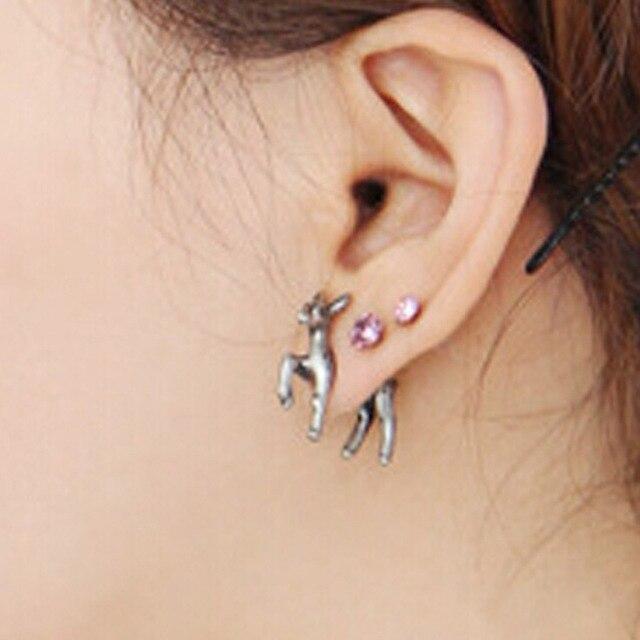 New Vintage Punk Stereoscopic Deer Stud Earring For Men Women Cool Animal Piercing Earrings