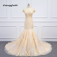 Mermaid Lace Evening Dresses Party Long Baeding Beautiful Champagne Women Party Prom Formal Evening Gowns Dress Wear On Sale