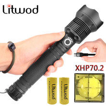 Litwod Z901282 LED flashlight New arrive CREE Original XHP70.2 powerful Tactical torch light 40000LM 18650&26650 Battery Lantern(China)