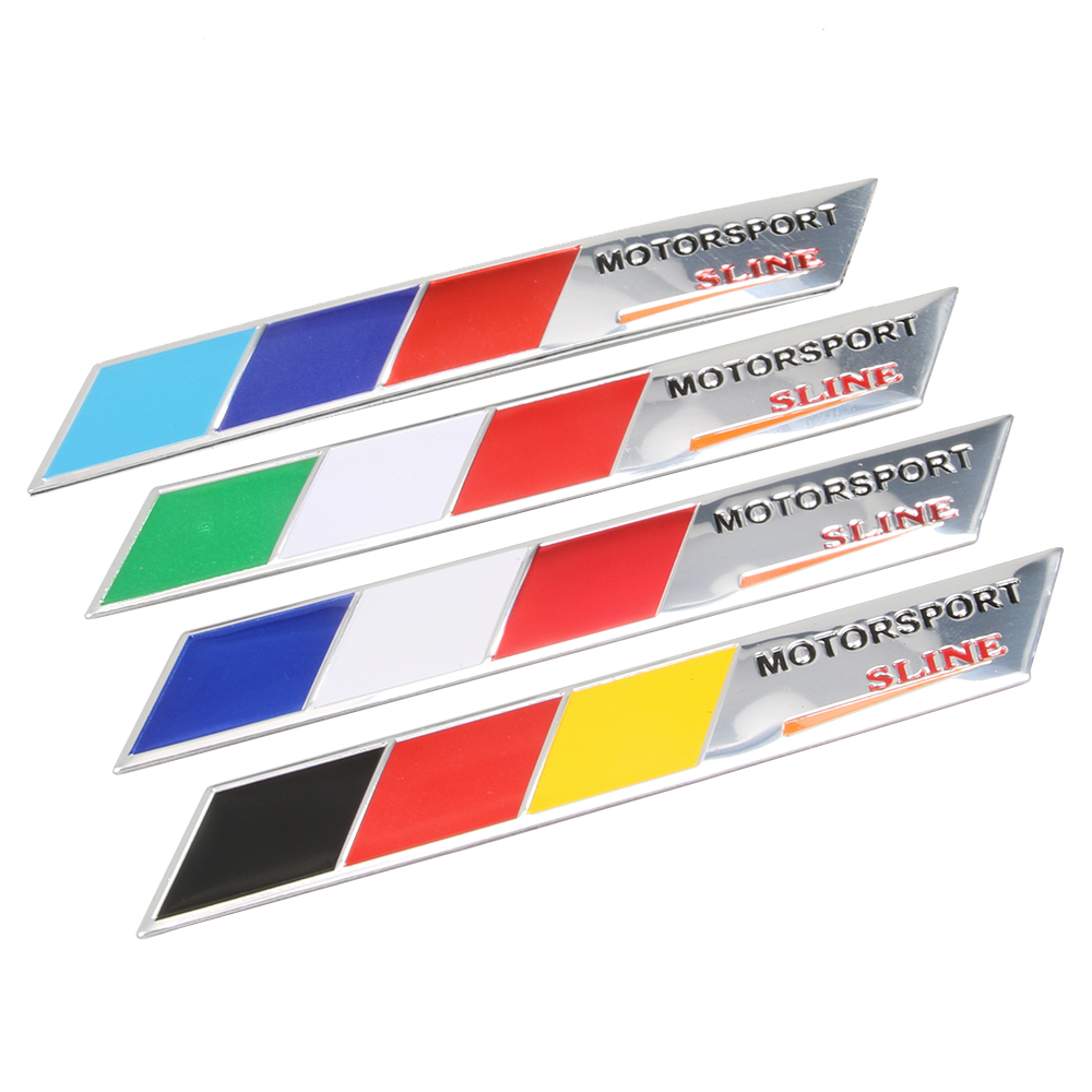 Aluminum Germany Italy France Flag Car sticker motorsport Sline Emblem Badge Sticker Car Styling For Jeep Bmw Fiat VW Ford Audi motorsport manager [pc jewel]