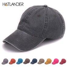 HATLANDER ย้อมล้างทราย 100% ผ้าฝ้ายนุ่มหมวกหมวกเบสบอลหมวกพ่อไม่มีเย็บปักถักร้อยบุรุษหมวกหมวกสำหรับผู้ชายและผู้หญิง