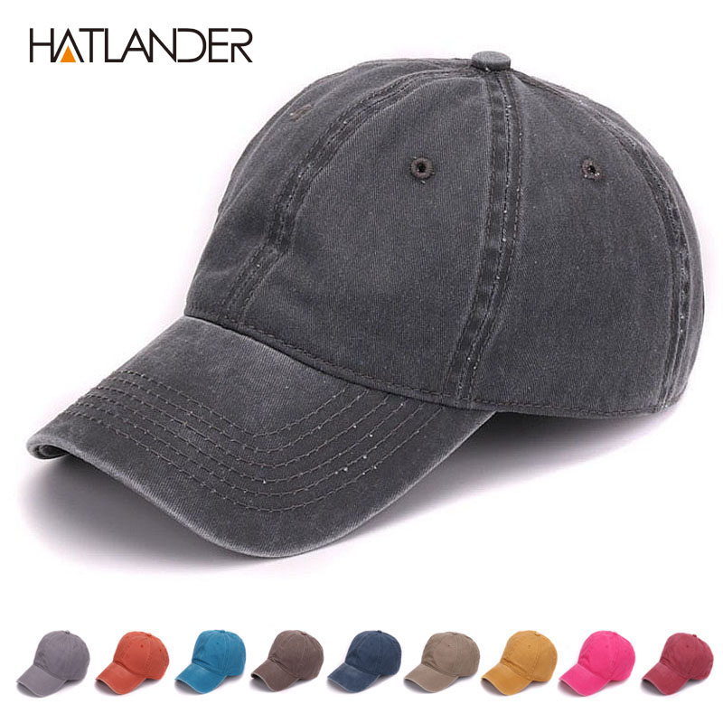 HATLANDER Plain dyed sand washed 100% soft cotton cap blank baseball caps dad hat no embroidery mens cap hat for men and women