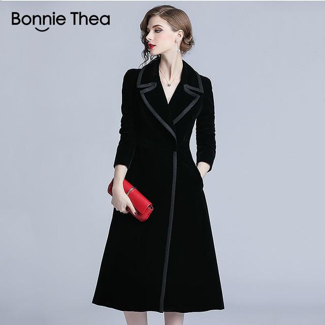 Bonnie Thea winter black Velvet coats and jackets women autumn female long  jacket coat office work jacket for women clothes 2018 81add1804174