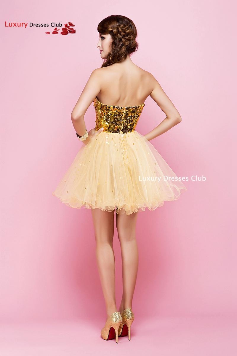 Increíble Vestidos De Dama De Oro Brillantes Colección - Colección ...