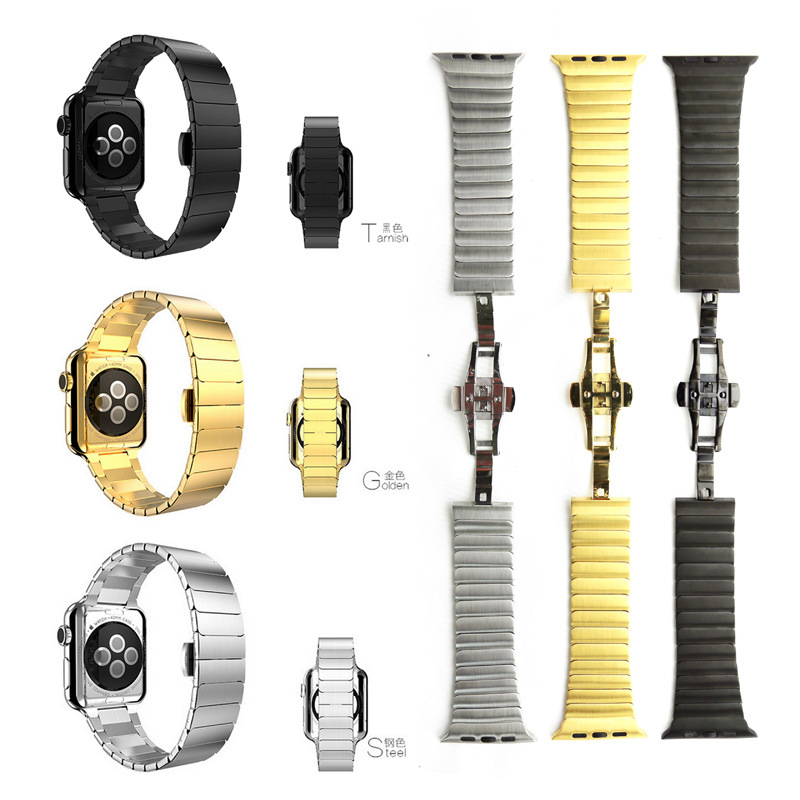 Top quality Butterfly clasp Link Bracelet band stainless steel for Apple Watch band link bracelet strap 38mm 42mm for iwatch kitqua37798saf7751gr value kit quality park clasp envelope qua37798 and safco e z sort steel mail sorter module saf7751gr