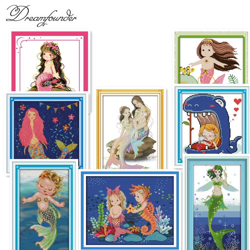 The Little Mermaid (4) Cross Stitch Kit Aida 14ct 11ct Count Printed Canvas Stitches Embroidery DIY Handmade Needlework
