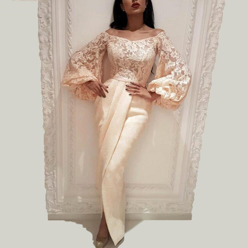 Di modo Arabo Sirena Da Sera Abiti Del Partito Elegante per Le Donne Celebrità Maniche Lunghe Dubai Maniche di Alta Split Abiti Da Cerimonia - 2