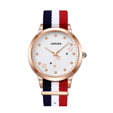 Fashion Casual Quartz Watch with Multicolor Nylon Cloth Watchband Wristwatch Simple Designer Women Watches Clock Orologio