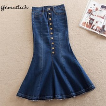 GEMUTLICH Plus Size XS-8XL Women Denim Trumpet Mermaid Skirt Spring Autumn Jeans