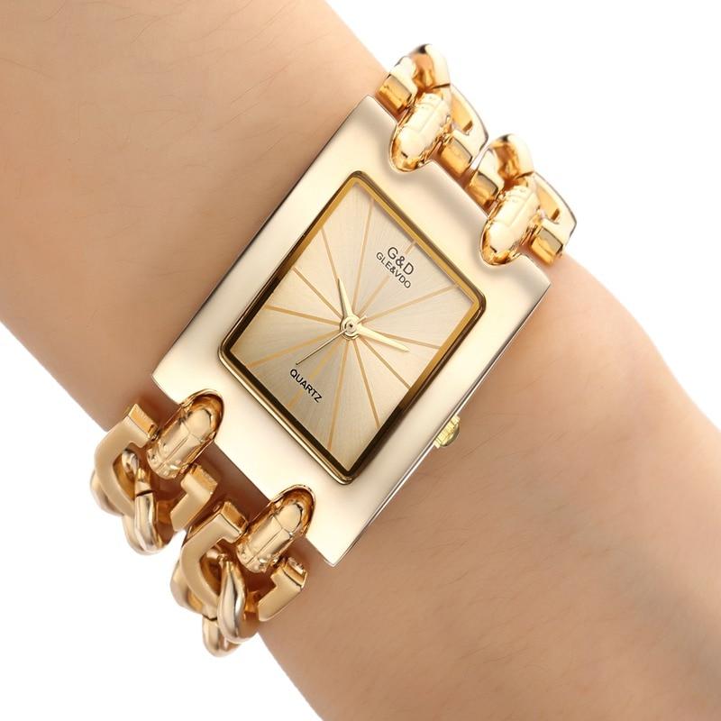 2018 New Women Watch Luxury Wrist Watch Analog Quartz Watches Stainless Steel Fashion Rhinestone Bracelet Double Chains Gifts