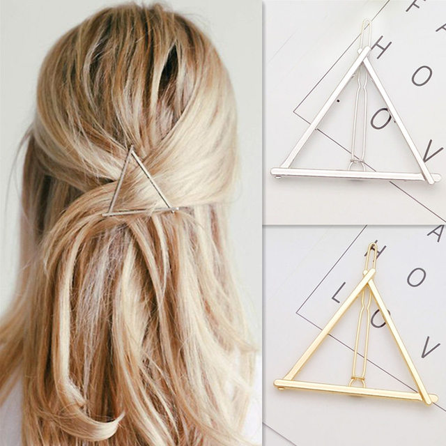 NEW Fashion Hairpins Round triangle Moon Hair pins Metal head jewelry for Women Lady Barrette Clip Hair Accessories Girls Holder
