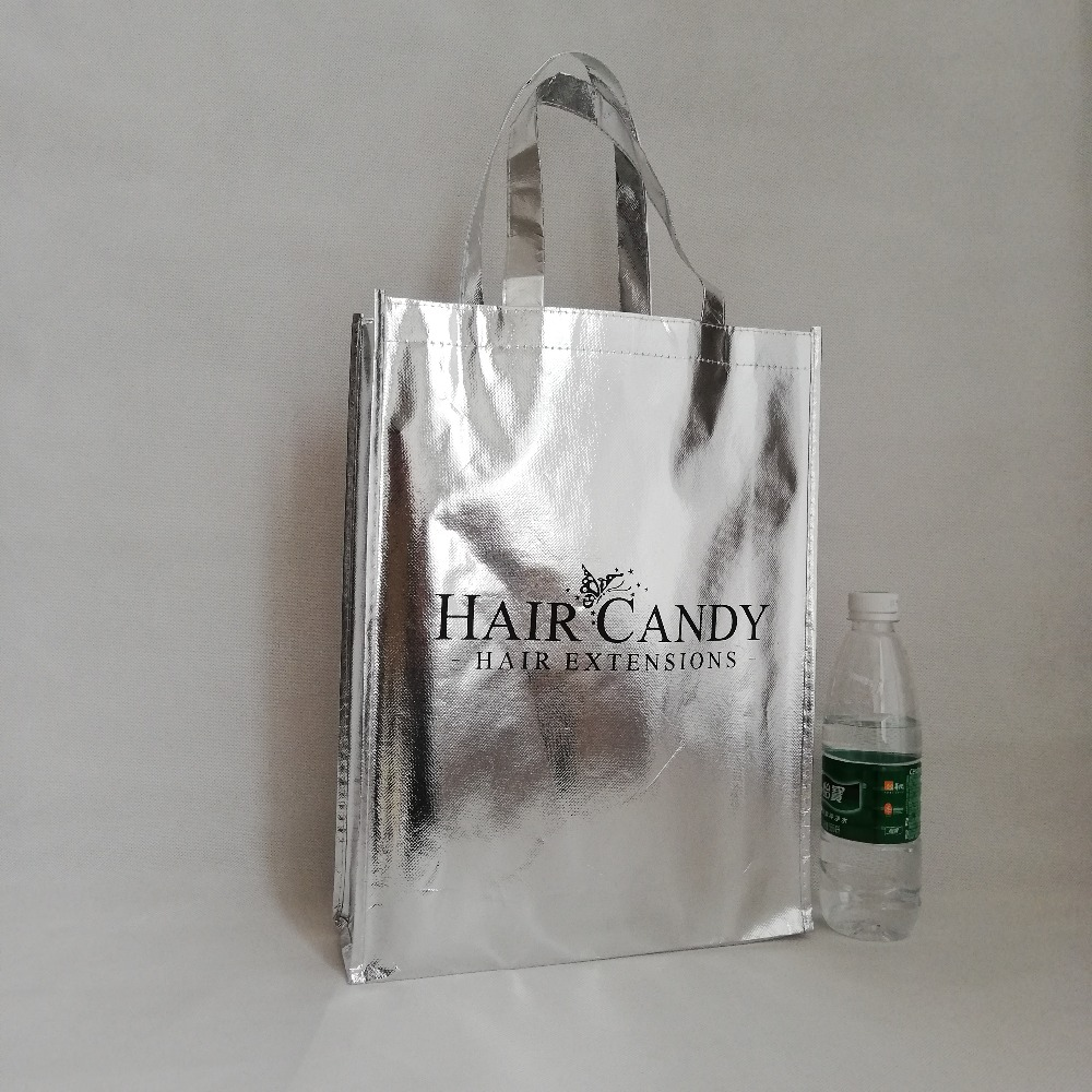 500pcs lot 30x40Hx10cm Cusotm Recyclable Metallic Non Woven Shopping Tote Bags High Quality Laser Lamination with