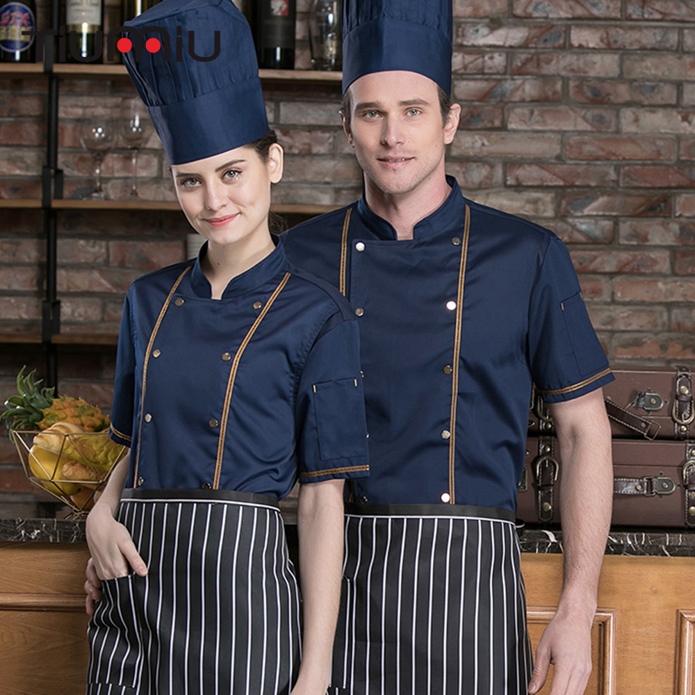 2019 Restaurant Hotel Kitchen Women Men Chef Jackets Hotel Uniforms Summer Breathable Double-breasted Work Clothes High Quality