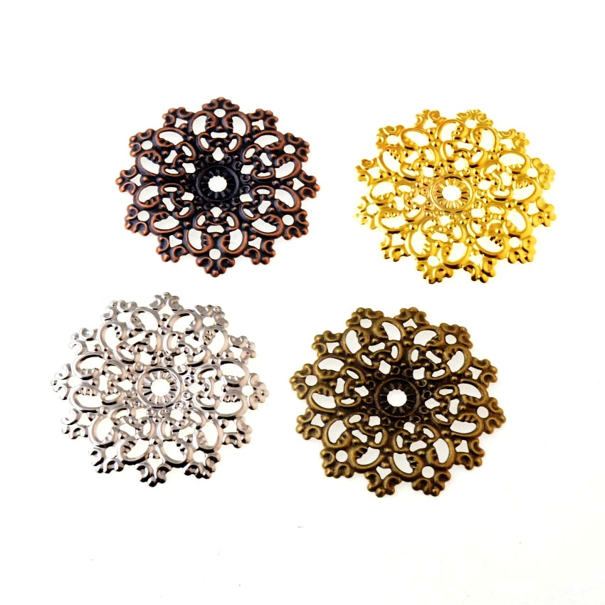 Free Shipping 10Pcs Filigree Flower Wraps Connectors Metal Crafts Decoration DIY Findings 4.8x4.8cm