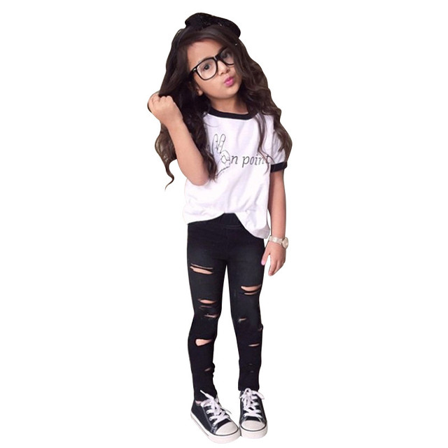 Estilo do verão Buraco Leggings Crianças Roupas Calças Skinny Básica + Camiseta 2 Pcs Menina Define Conjuntos de Roupas Infantis Para Crianças