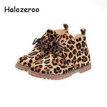 cdc99805d3492 Halozeroo nouveau hiver enfants chaud Martin bottes bébé fille léopard  bottines enfant marque en cuir véritable chaussures garço.