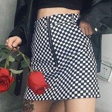 Black White Plaid Skirt Women Summer New Zipper High Waist Skirts Casual Fashion Streetwear Sexy A-line Mini Womens