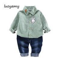 Luoyamy Baby Mädchen Schöne Kaninchen Stickerei Gestreiften Top und Jeans Sätze Fashion Jungen Kinder Casual 2 stück Set Kleidung