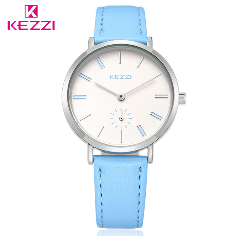 KEZZI Korean Fashion Women Leather Dress Watches Ladies Casual Quartz Watch Student Waterproof Wristwatch relogio feminino free shipping kezzi women s ladies watch k840 quartz analog ceramic dress wristwatches gifts bracelet casual waterproof relogio
