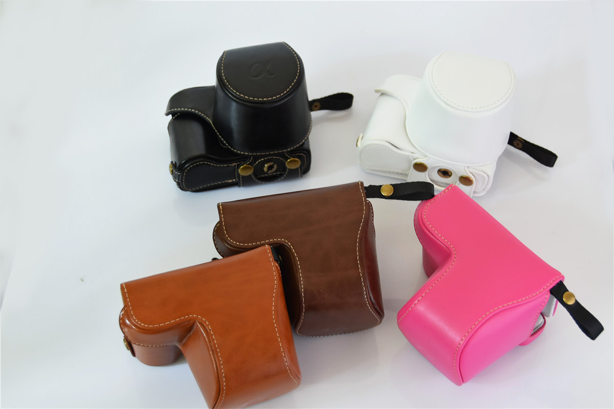 PU Leather <font><b>Camera</b></font> Hard Cover <font><b>Case</b></font> Bag Protector Cover holster for <font><b>sony</b></font> <font><b>Alpha</b></font> a5100 <font><b>a5000</b></font> 16-50 lens With Battery Opening image