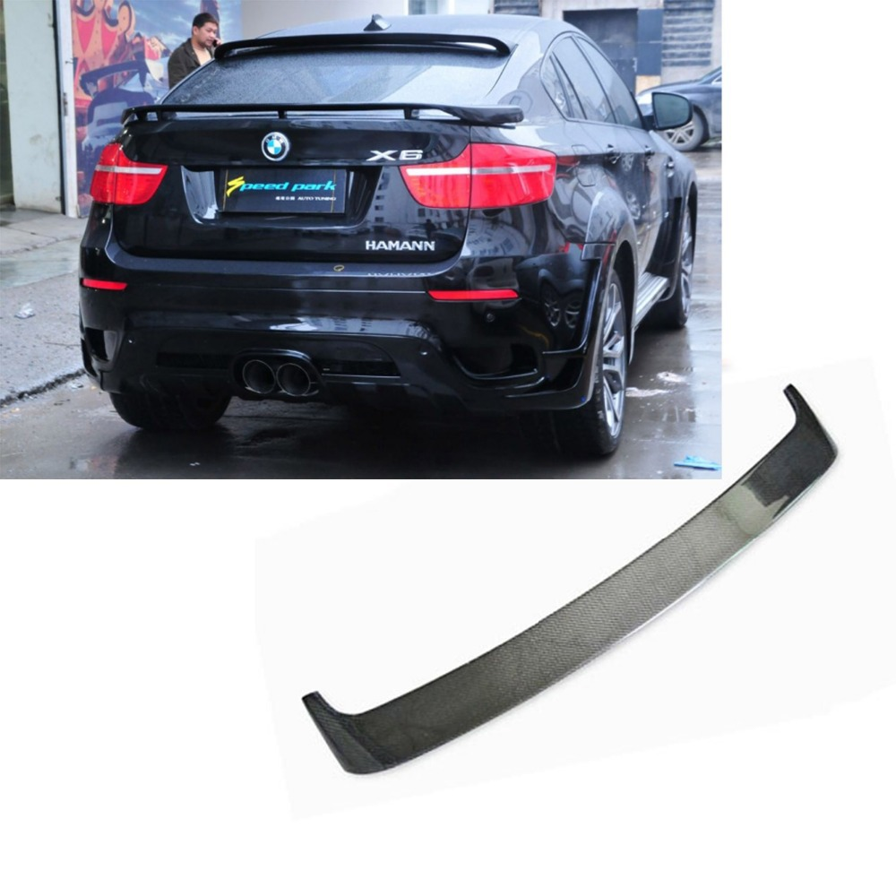 X6 E71 Carbon Fiber Rear Roof Lip Spoiler wing for BMW E71 X6 2008-2014 HM Style carbon fiber car roof shark fin decoration antenna exterior trim for bmw e70 x5 e71 x6 2008 2014 car styling