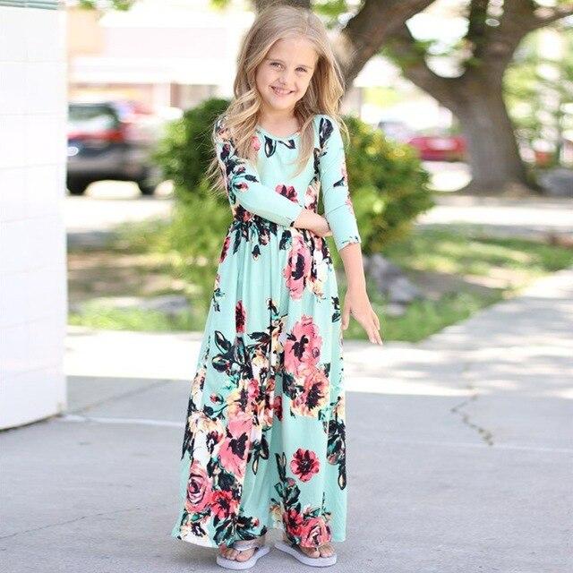373ccaafc256 2019 Kids Dresses for Girls Long Sleeve Children Floral Princess Dress  Spring Fall Girl Beach Dress