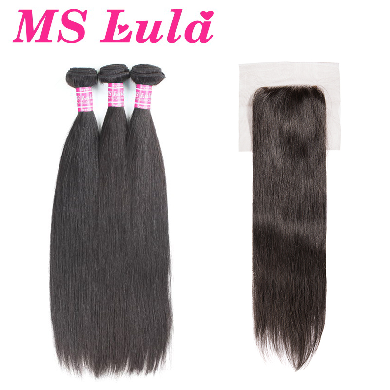 MS Lula Indian Straight 3 Bundles With 4x4 Lace Closure Hair Natural Color Remy Human Hair