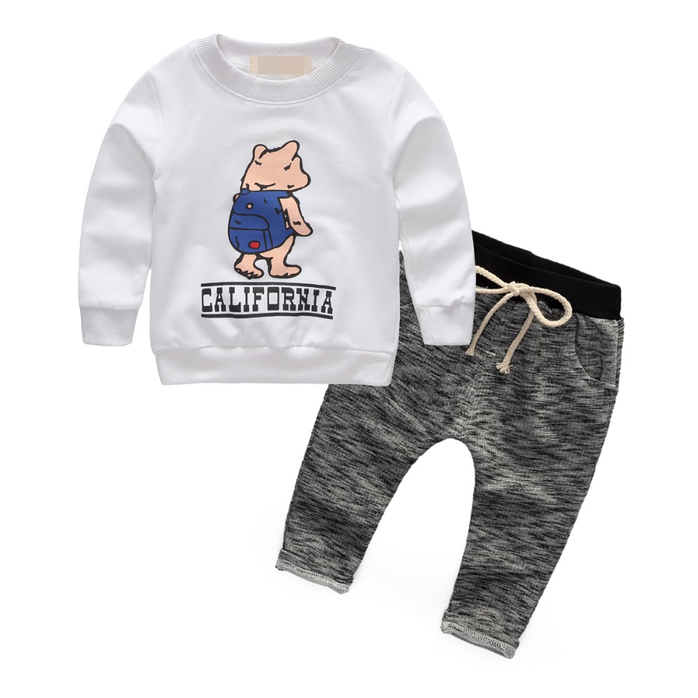 Baby Set cartoon Long Sleeve Cotton For toddler boy Girl Clothes infant Suit Sport Children clothing Sets T-Shirt+Pant tracksuit