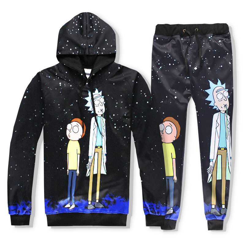2017 Fashion 3D Print Women Men Tracksuits Set Rick And Morty Cartoon Pants Hooded Sweatshirt Two Piece Set Brand Clothing R2415